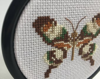 Small Moth/Butterfly Cross Stitch Embroidery in Frame
