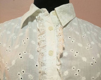 White  Blouse. vintage. 1950 Blouse.White vintage Blouse. Elegant Blouse. Vintage Blouse.50's Blouses.Elegant Blouse.Free Shipping.Size L-XL
