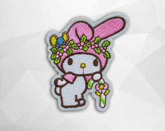 My Melody Iron on Patch(M2) - My Melody Cartoon Applique Embroidered Iron on Patch - Size 6.2x7.2 cm