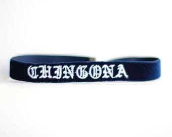 Chingona Embroidered Velvet Choker - Multi Colors Customizable