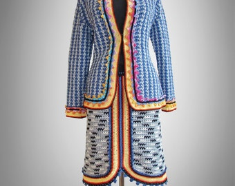 Crochet jacket Jackie. Multicolor crochet new cotton jacket. Made to order. Free shipping.