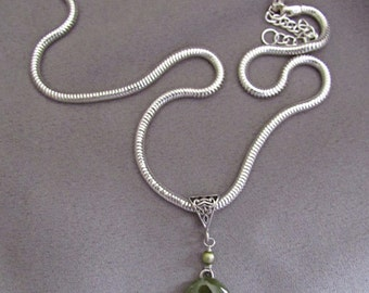 Green Amazonite Pendant Necklace/Cabochon/Silver Snake Chain/Gift