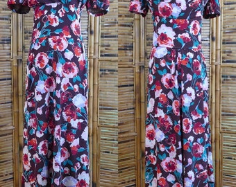 RESERVED for PAULINE 1940s Rayon Floral Print Dress - Medium