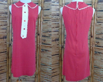 1960s Red and White Polka Dot Sleeveless Short Shift Dress - Medium