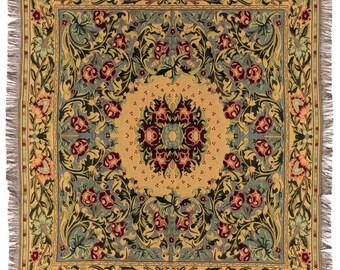 William Morris Throw Blanket - 56x56 Belgian Tapestry Throw - William Morris Design Throw Blanket - TT-734