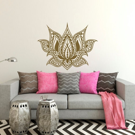 Bohe Mandala Flower Wall Paper Decor Yoga Studio Vinyl: Lotus Flower Vinyl Wall Decal Graphic Morrocan Pattern Boho