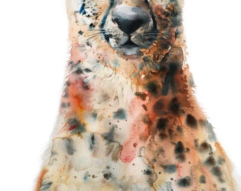 Cheetah wildlife animal painting in watercolor, Art print size 8X11 inch for room décor and special gift