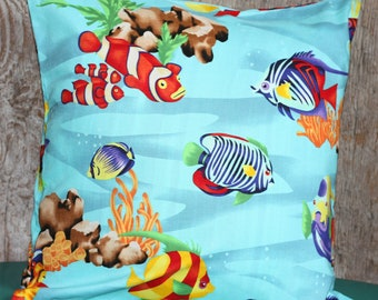 Tropical Fish Pillow Cover 16x16 -  Tropical Pillow Cover - Clown Fish Pillow Cover - Undersea Pillow Case - Nemo Pillow Cover
