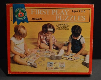 Vintage 1969 Child Guidance First Play Puzzles Animals
