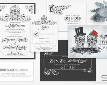 Gothic Wedding Invitation - DEPOSIT - Goth Glam Wedding Invitation - Wedding Invites, Custom Design - Ornate Skulls - Ceremony Cards
