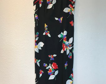 Black floral asian style dress