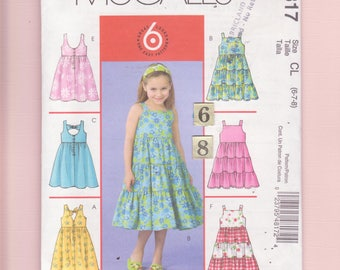 Girl's Summer Tiered, Ruffled, SunDress, Dress Sewing Pattern/ McCalls 4817 Shoulder Strap, Square Neckline dress UnCut / 6 7 8 years