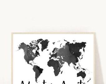 Adventure Awaits, Black World Map, Printable Art, Watercolor Map, World Map Print, Home Decor, Wall Art, Instant download, Wall decor