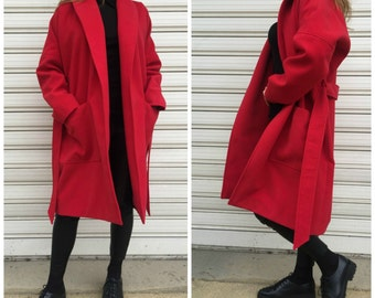 Loose Red Coat with Pockets / Women Cape Coat / Cashmere Poncho Coat / Long Sleeve Trench Coat / Wool Vest / EXPRESS SHIPPING