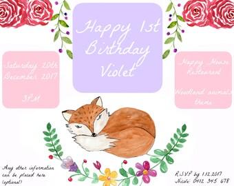 FOX / WOODLAND - Birthday Invitation