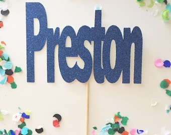 Large Personalized Name Cake Topper, Custom Cake Toppers, Name cake, Glitter Name Topper, Baby Shower Cake, It's a boy topper, Boy