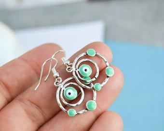 Eye earrings - evil eye - earrings enamel charms - Drop Earrings - been - good luck - Drop ear - BO summer