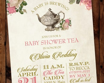 baby shower tea invitation floral tea party invitations garden tea party invitation tea