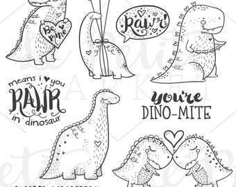 Valentine Dinosaur Clip Art Set, Valentine Illustrations, Valentine Clip Art, Dino-mite Dinosaur Love Clipart Valentine Graphics, Dino