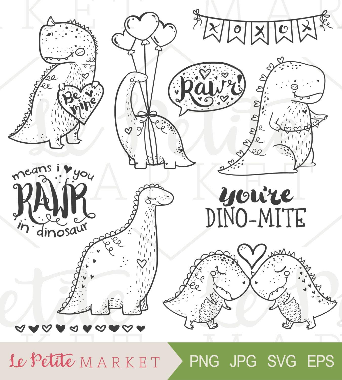 valentine dinosaur clip art set valentine illustrations