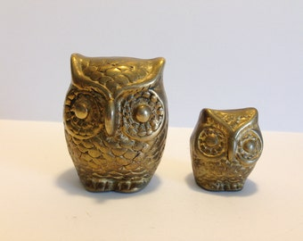 Owls Little Brass Owl Pair Mommy and Baby Owl Solid Brass Owls Paperweight Figurines