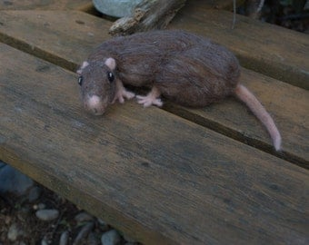 Realistic Brown Cuddly Rat 100% Wool Sculpture, Needle Felted