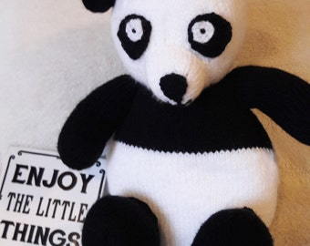 Panda soft toy, knitted, children, kids, gift, bear, stuffed animal, playroom,
