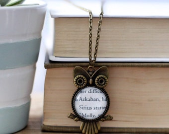 Harry Potter fandom book page owl necklace. Book Jewelry, Bookish Jewelry, Book Necklace,  Book nerd gift.