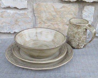 Dragonfly 4pc pottery dinnerware set with embossed dragonflies