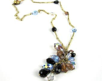 Gold Chain Crystal Bead Lariat Necklace, 25 Inch Y Necklace Circa 1950s