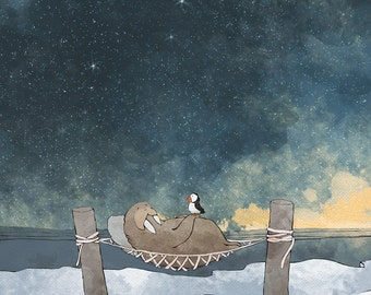 Walrus and Puffin Nursery Art Print - Catching a Nap by the Ocean