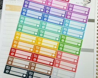 Bill due | Rainbow variety | Planner Stickers  (#020)