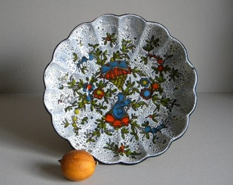 Vintage Wall Plate by FRANCO RUFINELLI Fat Lava Glazed Ceramic, Artistic Floral Composition, Mid Century ITALIAN Art Pottery