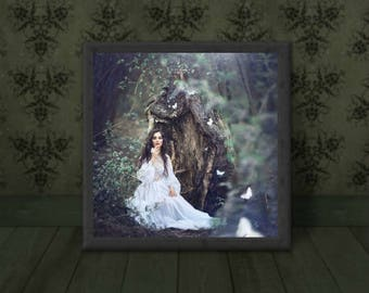 """Soul Light Lady in the Woods butterflies photography print 8"""" X 10"""""""