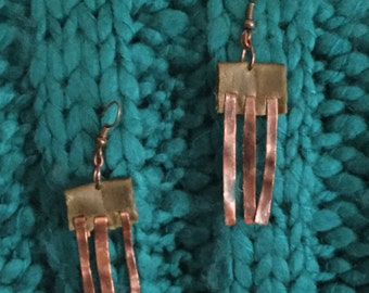 Handmade Hammered Patina Copper Earrings Genuine Leather