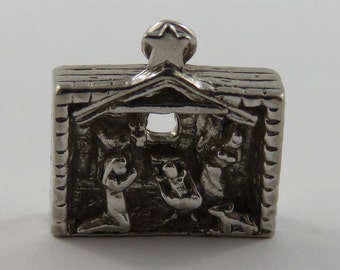 Christmas Manger Scene Sterling Silver Vintage Charm For Bracelet