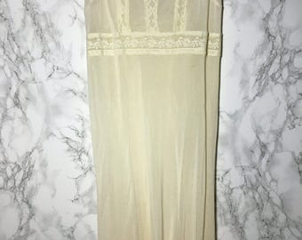 Sheer Cream Baby Doll Maxi Dress Lace Details