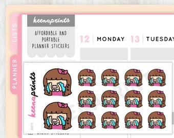 A811 | CRYING stickers Keenachi Perfect for Erin Condren Life Planner, Filofax, Plum Paper & ...