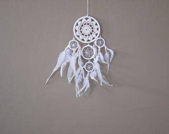 Dream Catcher White Crochet Handmade Wall Hanging Home Decoration 5 Circles Ornament Bead Feathers Suede Dreamcatcher 15 Inches