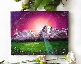 Landscape Painting - Original Painting - Sunset Art - Wall Art - Mountains - Flower Field - Snow - Sun Rays - Oil Painting - Inspirational