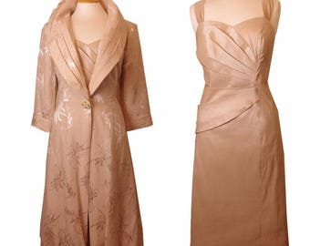 Stretch Beige colour Cotton Silk front ruched Dress, Complimented with Self print Silk Crepe Paneled Jacket