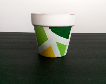 Green Yellow and White Terra Cotta Pot - Hand Painted Planter - White and Green Planter - Green Garden Pot - Asymetrical Herb Garden Pot