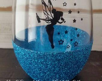 Drinker Bell Glitter Wine Glass - Girlfriend - Tinker Bell Disney - BFF - Personalized - Mom Wine - Funny Wine Glass, Gift for Her