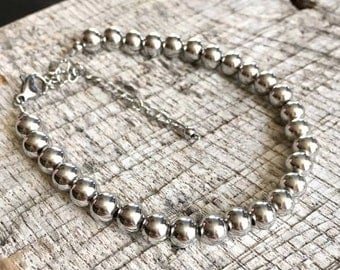 Stainless Steel Round Bead Bracelet