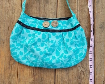 Small Cotton Magnetic Closure Handbag / Purse with Birds and Decorative Buttons in Teal and Black