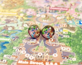 Upcycled Disneyland Map Earrings: Dumbo the Flying Elephant Ride