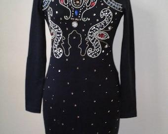 Little Black Dress,Black Stretch Dress, Rhinestone Embellished, Elegant,Long Sleeve Dress, Size Small