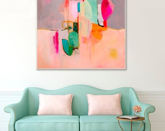 Abstract painting large pink, abstract art print, abstract painting print, large square abstract art, pink and grey, abstract canvas art