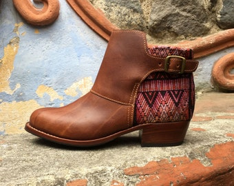 Ankle Leather Boots Made in Guatemala Leather Boots Womens Ladies boots cowgirl boots boho boots with zipper Can be CUSTOM MADE Size US 8