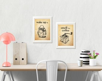 Wake up and smell the coffee, Quote print set, Old paper background, Kitchen art, Office decor, Eco Friendly, Instant download